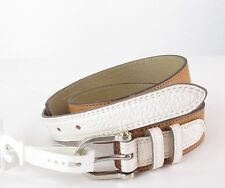 Relic Women's Faux Leather Tan White Colorblock Tab Belt NWT SZ M