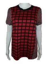 Womens MARNI Red Black White Check Print Knit T Shirt sz 42