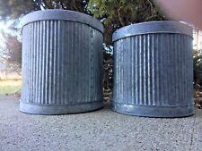 "Galvanized Metal Garden Bucket Planters, Set of 2  7.5"" & 8.5"" Farmhouse beauty"