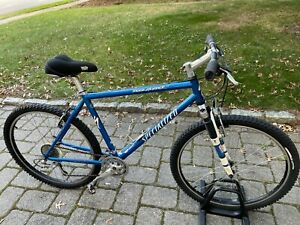 Specialized Rockhopper mans mountain bike mens large blue bicycle rockshox fork