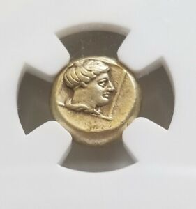 Lesbos, Mytilene Gold Hecte Apollo 377-326 BC NGC XF Ancient Coin