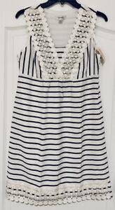 Dress Barn White Black Striped Sleeveless Dress Lace Dot Trim Empire Waist Sz 8