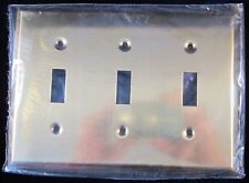 Brass Cover Plate Triple Light Switch Toggle - New Old Stock - Made in Canada