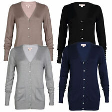 Viscose Patternless Button Jumpers & Cardigans for Women