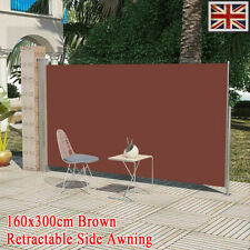 vidaXL Retractable Side Awning 140x300cm Brown Garden Privacy Screen Blind