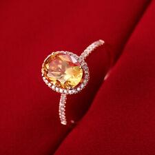 8x6mm Oval Shape Genuine Citrine Natural Diamonds 18K Rose Gold Wedding Ring
