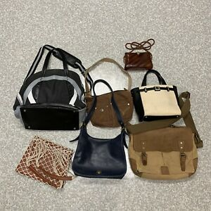 Lot of 7 Various Handbags Leather Purses used Coach Lululemon Kate Spade