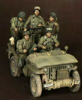 1/35 WW2 American Soldiers + Jeep Crew scale resin model figures kit (5 Figures)