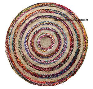 New Multi Jute & Cotton Rugs Indian Handmade Yoga Mat , Round Style Carpet