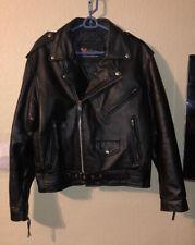 Xelement Full Zip Black Leather Heavy Motorcycle Jacket Coat W/ Liner Size L