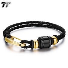 Quality TT Black Leather 316L Stainless Steel Gold Tone Bead Bracelet (BR209)