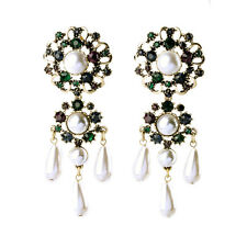 Costume Class Earrings Studs Huge Chandelier Pearl Green Emerald Marriage X10