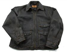 Timberland Rugged & Durable Brown Leather Jacket Zip Front Aviation Flight Large