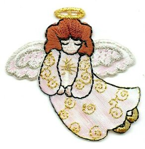 ANGEL Iron On Patch Christmas Religious