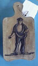 Ancienne planche à découper Sculpté fermier scène de culture Saucisson Pain