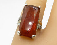 925 Sterling Silver - Vintage CZ & Amber Long Solitaire Ring Sz 5.5 - R5434