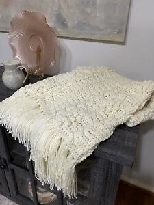 Hand-crocheted Afghan/Lap Blanket/Throw NEW Ivory/cream Soft 100% Acrylic Yarn