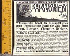 Fenomeno, acettlen BICICLETTA LANTERNA, LAMPADA, Riemann, Chemnitz, ORIG. visualizzazione 1910
