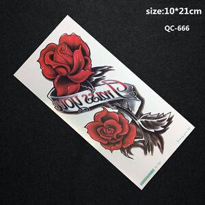 Girls/Women Beautiful rose 3D Body Art Temporary Tattoo Sheet Size 10cmx21cm