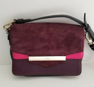 NEW Kate Spade Small Crossbody Bag in Deep Plum, Pink & Black Leather & Suede