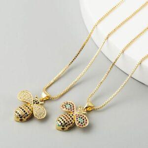 New Fabulous  Gems Simple Copper Micro Inlaid Colour Zircon Pendant Bee Necklace