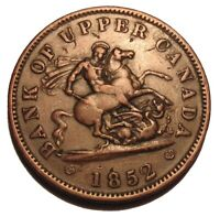 OLD Canadian Coins 1852 PENNY TOKEN Breton 719 BANK OF UPPER CANADA