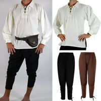 Medieval Renaissance Irish Peasant Pirate Costume Mens Knight Top Pants Cosplay