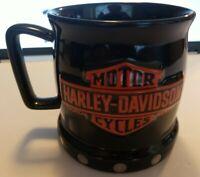 Rare Harley Davidson 3D Trade Mark Coffee Mug Cup Black & Orange Logo Cycle