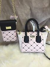 BETSEY JOHNSON MINI SATCHEL DOME Pink Ivory BLACK Quilted Hearts & Wallet String