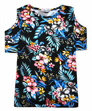 Girls Floral T Shirt New Kids Cold Shoulder Short Sleeved Top Ages 5 - 13 Years