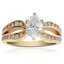 0.98 Carat Marquise Cut Diamond Split Shank Engagement Ring 14K Yellow Gold