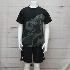 Boys Under Armour Shirt Batman Youth Size Medium T-Shirt Black Gray Loose EUC