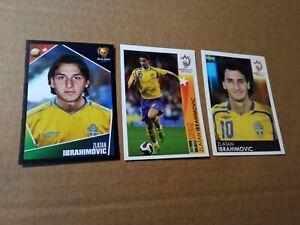 3 Rookie stickers of Zlatan Ibrahimovic Panini Euro 2004 and 2008