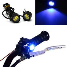 Blue Motorcycle Hawkeye Handlebar Rearview Mirror LED Daytime Running Lens Light