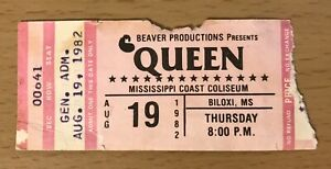 1982 QUEEN HOT SPACE TOUR BILOXI CONCERT TICKET STUB FREDDIE MERCURY BRIAN MAY