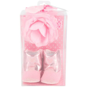 Brother Sister Design Studio Pink Boots and Headband Set SZ 0-6m