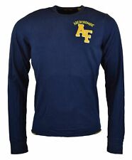 Abercrombie & Fitch Men's Long Sleeve T-Shirt with Embroidered Patch Logo-Navy