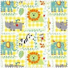 "ZOO FRIENDS FLANNEL Panel Quilt Fabric 23"" x 42""  Blue Hill Fabrics"
