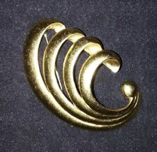 "Brooch Pin ~ 2.5"" Long Matte Goldtone Wave Design Costume Jewelry"