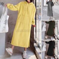 ZANZEA 8-24 Women Side Slit Hooded Sweatshirt Hoodie Dress Warm Long Maxi Dress