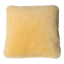 Lammfell Kissen Merino gelb geschoren Kissenhülle mit echten Daunenkissen weich