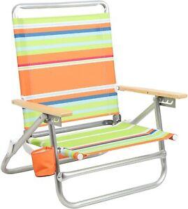 PORTAL Aluminum Lightweight 4-Way Hi Back Folding Beach Chair, Classic Wood Hand