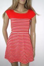 Cotton Short Sleeve Skater Striped Dresses for Women