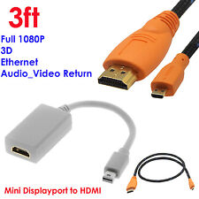 Mini DisplayPort DP to HDMI Adapter M/F+3FT HDMI to Micro-HDMI Cable w/Ethernet