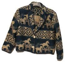Vtg NEW IDENTITY Womens Horses Blue Equestrian Cropped Tapestry Blazer Jacket XL