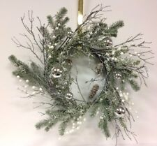 "PVC Flocked Pine Wreath~White Berries~PVC Twigs, Silver Balls~24""~Artificial"