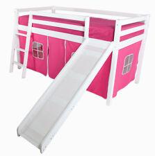 White Solid Pine Wooden Cabin Loft Bed Ladder Slide Pink Girls 3ft Single Kids