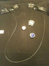 QVC Sterling Silver Micro Cord Changeable Pendant Necklace Set