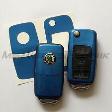 2S_Schlüssel-Dekor Aufkleber Skoda Fabia Oktavia Superb RS blau metallic glänz.