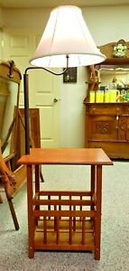 Rare Vintage Mission Style Chairside Swing Arm Lamp Table Night Stand